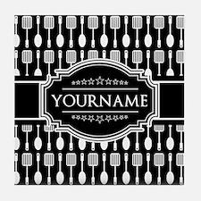 Personalized Name Black and White Spo Tile Coaster