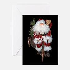 Bicylce Santa copy Greeting Cards