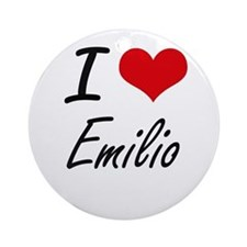 I Love Emilio Round Ornament