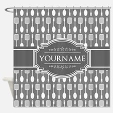Charcoal Gray Custom Personalized M Shower Curtain