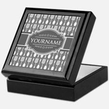 Charcoal Gray Custom Personalized Mon Keepsake Box