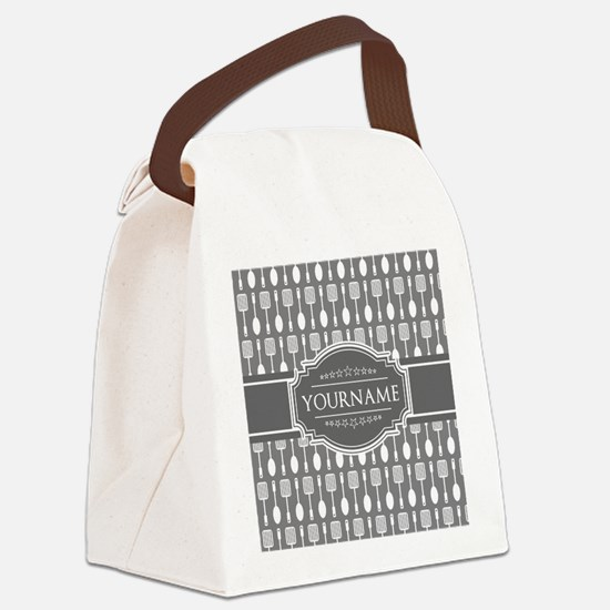 Charcoal Gray Custom Personalized Canvas Lunch Bag