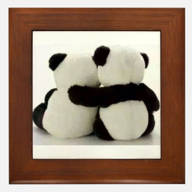 Cute Panda bears Framed Tile