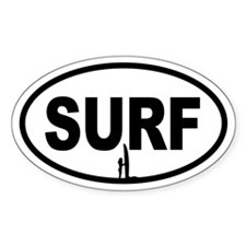 SURF Beach Bunny Oval Decal