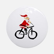 Santa Claus Riding Bicyle Round Ornament