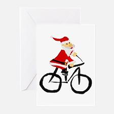 Santa Claus Riding Bicyle Greeting Cards