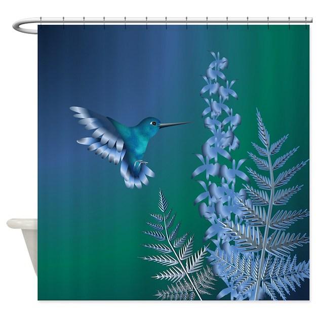 Hummingbird Kitchen Curtains: Iridescent Hummingbird Shower Curtain By