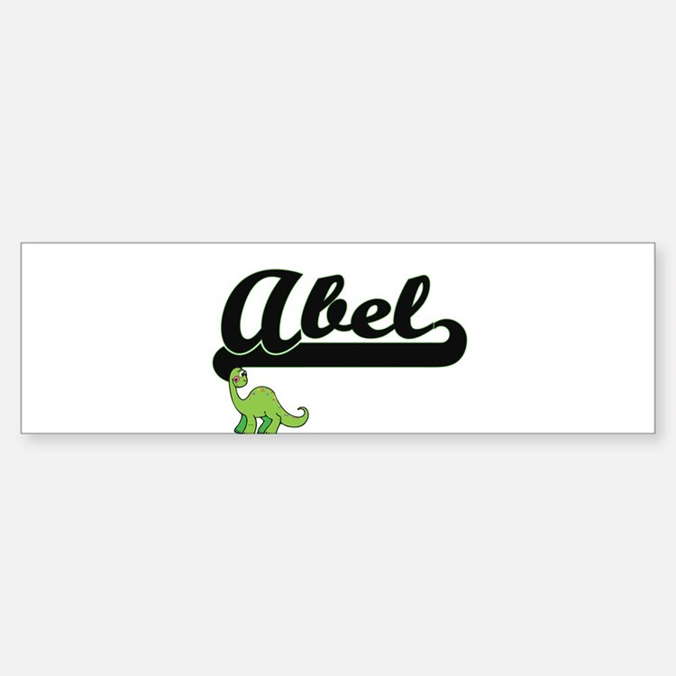 Abel Classic Name Design with Dinos Bumper Car Car Sticker