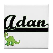 Adan Classic Name Design with Dinosau Tile Coaster