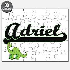 Adriel Classic Name Design with Dinosaur Puzzle