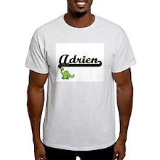 Adrien Classic Name Design with Dinosaur T-Shirt