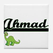 Ahmad Classic Name Design with Dinosa Tile Coaster