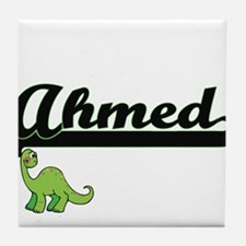 Ahmed Classic Name Design with Dinosa Tile Coaster