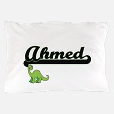 Ahmed Classic Name Design with Dinosau Pillow Case