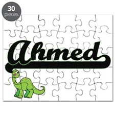 Ahmed Classic Name Design with Dinosaur Puzzle