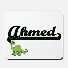 Ahmed Classic Name Design with Dinosaur Mousepad