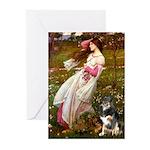 Windflowers-AussieShep (L) Greeting Cards (Pk of 1