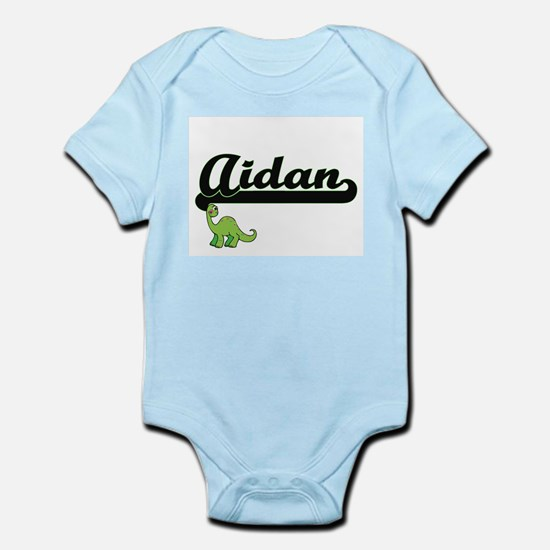 Aidan Classic Name Design with Dinosaur Body Suit