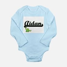 Aidan Classic Name Design with Dinosaur Body Suit