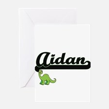 Aidan Classic Name Design with Dino Greeting Cards