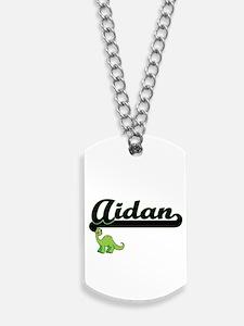Aidan Classic Name Design with Dinosaur Dog Tags
