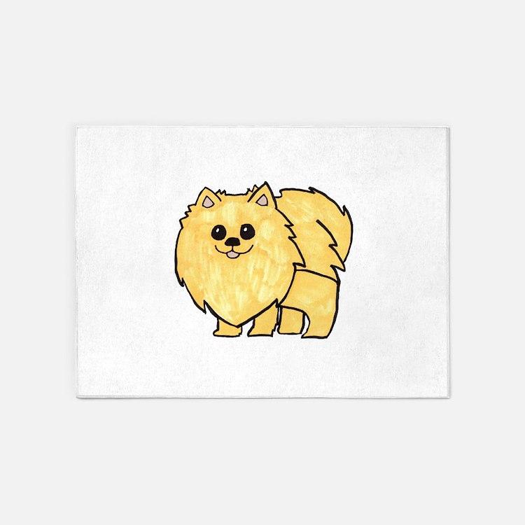 Cream Pomeranian 5'x7'Area Rug