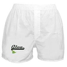 Alva Classic Name Design with Dinosau Boxer Shorts