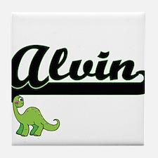 Alvin Classic Name Design with Dinosa Tile Coaster