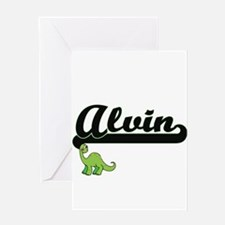 Alvin Classic Name Design with Dino Greeting Cards