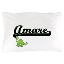 Amare Classic Name Design with Dinosau Pillow Case