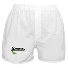 Amare Classic Name Design with Dinosa Boxer Shorts