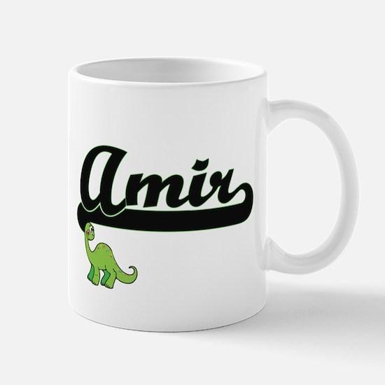 Amir Classic Name Design with Dinosaur Mugs