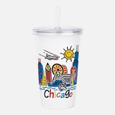 Chicago Kids Dark.png Acrylic Double-Wall Tumbler