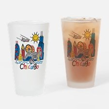 Chicago Kids Dark.png Drinking Glass