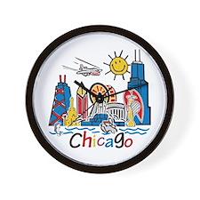 Chicago Kids Dark.png Wall Clock