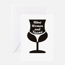 Wine Woman and Thong Greeting Cards