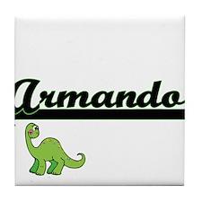 Armando Classic Name Design with Dino Tile Coaster
