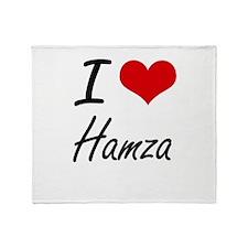I Love Hamza Throw Blanket