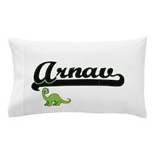 Arnav Classic Name Design with Dinosau Pillow Case
