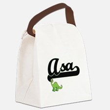 Asa Classic Name Design with Dino Canvas Lunch Bag