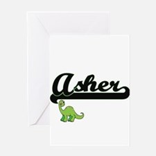 Asher Classic Name Design with Dino Greeting Cards