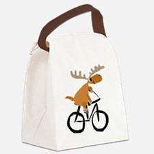 Moose Riding Bicycle Canvas Lunch Bag