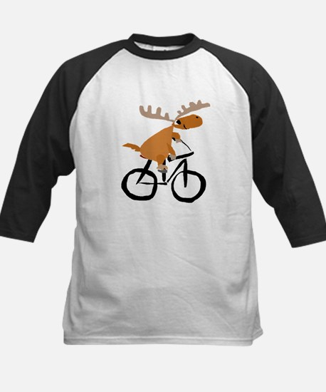 Moose Riding Bicycle Baseball Jersey