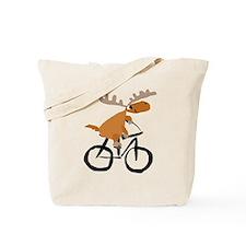Moose Riding Bicycle Tote Bag
