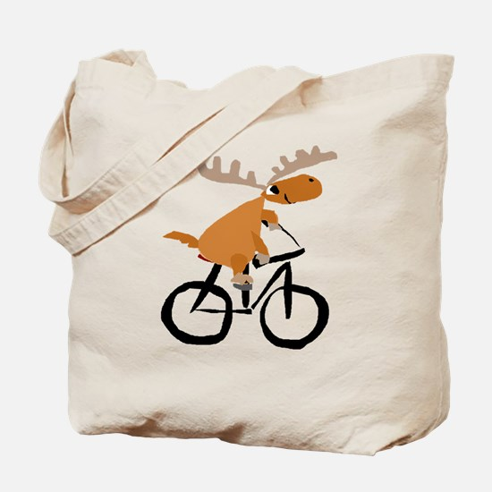 Moose Riding Bicycle Tote Bag