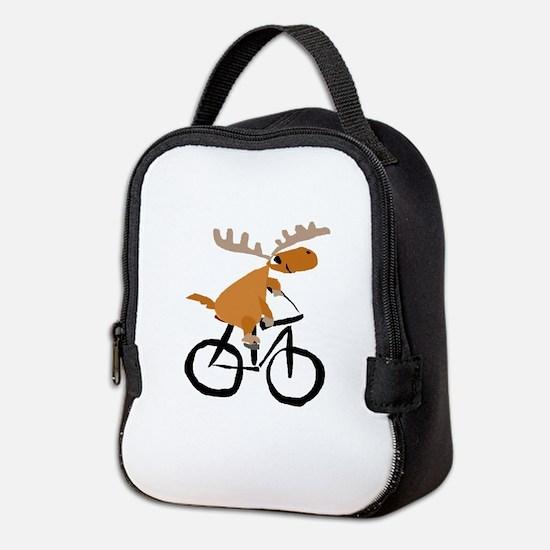 Moose Riding Bicycle Neoprene Lunch Bag