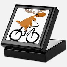 Moose Riding Bicycle Keepsake Box