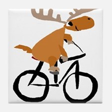 Moose Riding Bicycle Tile Coaster