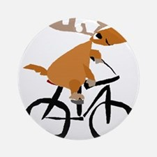 Moose Riding Bicycle Round Ornament