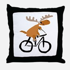 Moose Riding Bicycle Throw Pillow